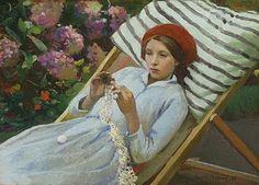 Harold C. Harvey - Girl with a red beret 1916
