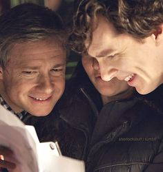 Martin Freeman and Benedict Cumberbatch behind the scenes of #Sherlock series 3
