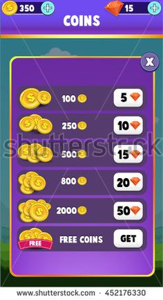 Mobile Game GUI Coins Shop Screen for In App Purchases - stock vector