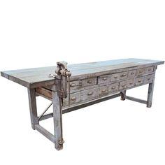 Rustic Handmade Work Bench with Blacksmith Vice
