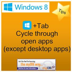 Windows 8: Tip- Press Windows Key + Tab Cycle through open apps (expect desktop apps). Source: www.theittrainingsurgery.com Windows 8 Tips, Start Screen, Layout, Learning, Apps, Keyboard, Desktop, Language, Page Layout
