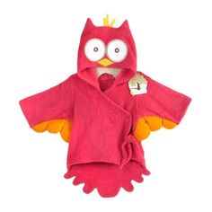 Baby Owl Bath Towel Robe Red - Little TroubleMakers