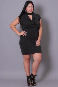 Plus Size Modal Keyhole Dress -  Black