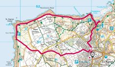A short circular walk from St Agnes around St Agnes Beacon and on to St Agnes Head and round to Trevainance Cove and back to St Agnes. South West Coast Path, St Agnes, Country Walk, Pubs And Restaurants, Cornwall, Walks, Saints, Workshop, Map