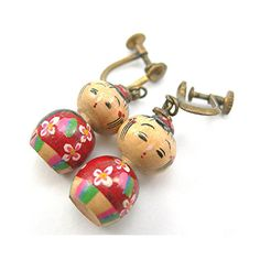 Vintage Wood Kokeshi Doll Earrings Japanese by AtticDustAntiques, $24.00
