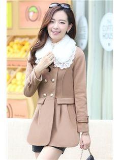 Lace Fur Colloar Woolen Coats