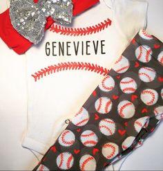 Baby Leggings & Matching Headband - Baseball by knotsandthreads1 on Etsy https://www.etsy.com/listing/279372970/baby-leggings-matching-headband-baseball