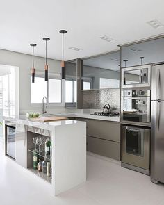 43 Contemporary Decor To Update Your Home Kitchen Room Design, Home Decor Kitchen, Kitchen Furniture, Kitchen Interior, Home Kitchens, Kitchen Ideas, Contemporary Kitchen Design, Contemporary Decor, Sweet Home