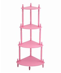 NEW Pink Wooden Corner Etagere 4 Shelf Plant Stand Curio Decor Display Storage Corner Shelves, Display Shelves, Curio Decor, Wooden Shelving Units, 4 Tier Shelf, Pink Shelves, Kids Playroom Furniture, Girls Furniture, Furniture Storage