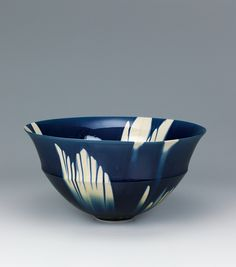 "Bowl with indigo three-color glaze decoration. ""1307"" KATO Kiyokazu"