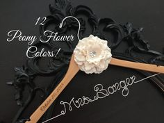 Flower Wedding Dress Hanger Bride Hanger Name Hanger by GetHungUp