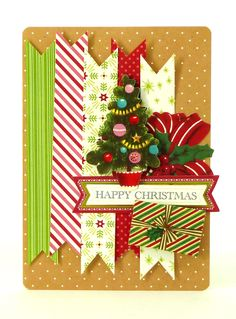 Handmade 3-dimensional Christmas card from the Anna Griffin Holiday Trimmings Card Making Kit featuring a kraft paper card surface. This kit makes 60 unique cards with beautiful foil stamped metallic details, stunning dimensional embellishments, paper bows, ribbons and more! http://www.hsn.com/products/anna-griffin-holiday-trimmings-cardmaking-kit/7170195
