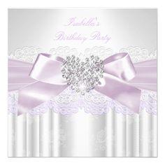 Pretty Pink Lilac White Lace Diamond Birthday Invites.  $2.65