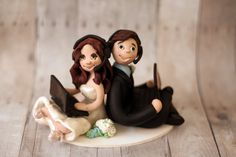 Gaming Cake Topper - Gamer Headsets and Laptops - Custom Wedding Cake Figurines from Cherry Red Toppers
