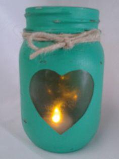 Hand painted mint pint size Mason jar heart by BlackwellsBoutique
