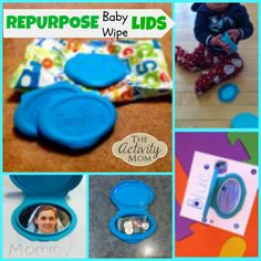 Repurpose Baby Wipe Lids The Activity Mom - Quinny Stroller - Ideas of Quinny Stroller - Repurpose Baby Wipe Lids for your Baby or Toddler Outdoor Activities For Toddlers, Toddler Learning Activities, Infant Activities, Educational Activities, Summer Activities, Baby Crafts, Toddler Crafts, Toddler Preschool, Toddler Games