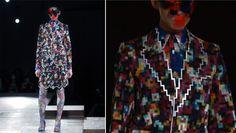 Ontwerper Kunihiko Morinaga geboren in 1980 Tokyo, Japan. Afgestudeer aan de Waseda University and Vantan Design Academy. In 2003 starte hij zijn eigen merk:   ANREALAGE.   Voor deze collecte heeft hij de pixel gebruikt als inspiratiebron.  Er is gebruik gemaakt van kleurrijke patronen, stiksels en decoratieve elementen op de stof.  Inspirerent dat je een gegeven (de pixels) kan doorvoeren als concept in een nieuwe ontwerp.