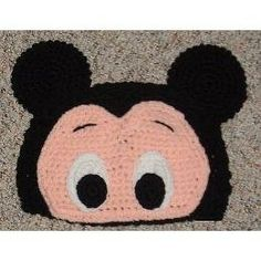 Disney Custom Crocheted Mickey Mouse Eyes and Ears Beanie Hat--inspiration