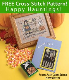 Happy Hauntings! Download from Just CrossStitch Newsletter . Click on the photo to access the free pattern. Sign up for this free newsletter here: AnniesNewsletters.com.