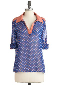 Where To? Top - Mid-length, Blue, Pink, Print, Long Sleeve