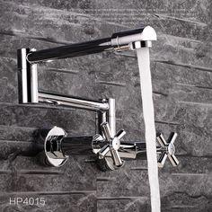 Qualität Messing Chrom Erweiterung Heißer und Kaltes Wasser Küchen-mischbatterie Waschbecken Drehen Falten Küchenarmatur Wand Montiert(China (Mainland))