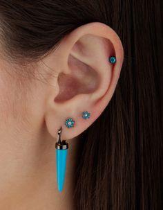 "5/16"" Turquoise Single Long Spike Clicker Ring, 3mm Blue Diamond Scalloped Set Threaded Stud, 4.5mm Sky Blue Diamond Flower Threaded Stud, and 5.5mm Sky Blue Diamond Flower Threaded Stud"