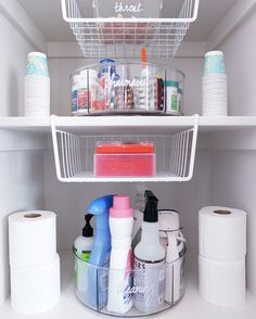 Clear Linus Divided Lazy Susan, Linus Shallow Drawer Organizers, & Undershelf Baskets from The Container Store Under Sink Organization, Bathroom Cabinet Organization, Linen Closet Organization, Container Organization, Bathroom Organisation, Organized Bathroom, Medicine Organization, Bathroom Cleaning, Organization Ideas