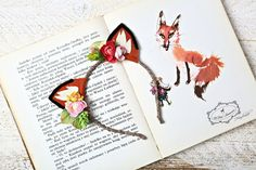 fox ears, fox ears headband, woodland, spring, pastel, birthday party, birthday girl, photo session, photo prop, costume, nature inspired by OhDearAccessories on Etsy