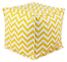 One Kings Lane - Your Perfect Pouf - Crissy Pouf, Yellow/White