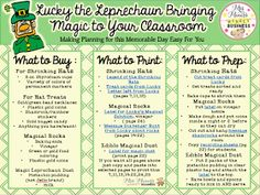 Free! Sharing my organized lists for shopping, printing & prepping for Lucky the leprechauns magical st. Patricks day visit to the classroom!
