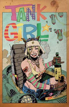 Tank Girl Alec Fritz colors by ~stevescott Source:lulubonanza via dubstepcholla Comic Book Characters, Comic Books Art, Comic Art, Gravure Illustration, Illustration Art, Tank Girl Cosplay, Tank Girl Comic, Jet Girl, Pop Art