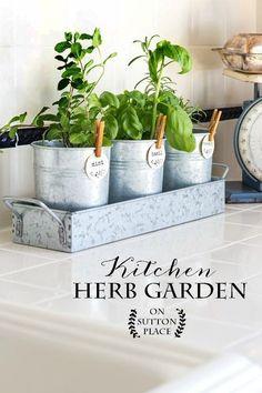 Kitchen Herb Garden | Put this farmhouse style kitchen herb garden together in minutes! Galvanized metal containers | Indoor herb garden | Herb garden tags.