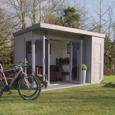 12 x 8 Waltons Contemporary Summerhouse with Side Shed on Walton Garden Buildings