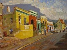 Bo Kaap Landscape Drawings, Cool Landscapes, Landscape Paintings, Art Drawings, African Paintings, South African Artists, Amazing Paintings, Southwest Art, Painting Gallery