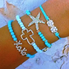 Turquoise bracelets ~ Ooohh I love the colors and the star bracelet I need on of these! Cute Jewelry, Diy Jewelry, Beaded Jewelry, Jewelery, Jewelry Accessories, Handmade Jewelry, Jewelry Design, Jewelry Making, Trend Accessories