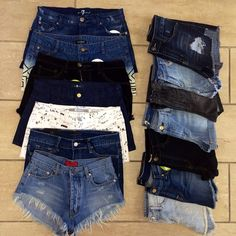 denim shorts a must have year round in Mississippi! Cut offs, lace, white, distressed tons of denim!