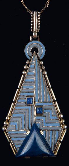 Theodor Fahrner - An Art Deco silver, enamel and lapis lazuli pendant, Pforzheim, circa 1930. 7 x 3.1 cm. #TheodorFahrner #ArtDeco #pendant