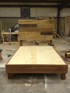 Reclaimed Wood Bed - Brown on Etsy, $1,200.00