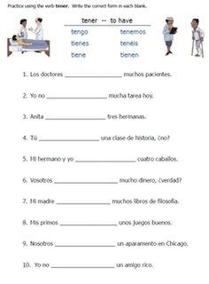Spanish greetings matching classroomiq spanishworksheets spanish tener verb worksheets m4hsunfo