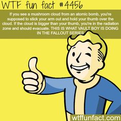 WHOA! ...Why Vault boy is holding his thumb out in the FALLOUT SERIES. - Gonna get back to you on this one!  ~WTF? facts