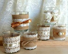 6 rustic natural color burlap and lace covered votive by PinKyJubb