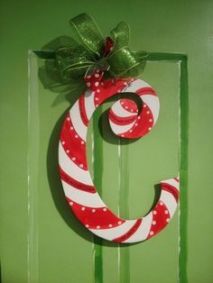 Christmas Candy Cane Letter Door Hanger