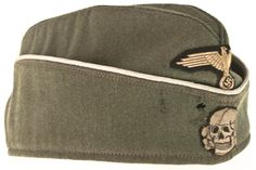Waffen SS garrison cap. Ww2 Uniforms, German Uniforms, Military Cap, Military Weapons, Luftwaffe, Garrison Cap, Army Ranks, Military Modelling, Weapons