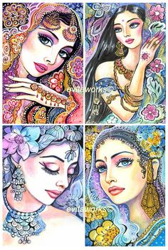 Glamorous India - Woman Face Ornate Jewelry Fashion Illustration - Set of Four 4x6 Art Prints. $14.99, via Etsy.