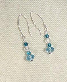 Sterling Silver Swarovski Blue Crystal Large Rondelles Crystal Earrings. $20.00, via Etsy.