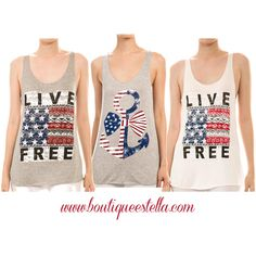 Get your red, white, and blue gear now at www.boutiqueestella.com!