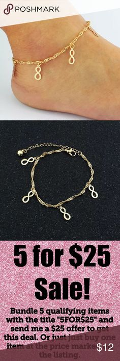 "🎉5/$25🎉 Infinity Gold Chain Anklet Anklets are top accessory trend of 2018!  Sexy Infinity Charm Gold Tone Dainty Minimalist Anklet 9.5"" with 5"" extender chain All jewelry comes in organza gift bag.  Perfect to wear with a dress and heels at a party, barefoot at beach vacation, or everyday!  See my other listings with 5 for $25 SALE and save on a bundle! Lots of bags, jewelry and new boutique items. Great for gift giving. I love accepting offers. Boutique Jewelry"