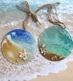 Excited to share this item from my shop: Beach Sun Catchers-Set of Two/Ocean Sun Catchers/Seashell Sun Catchers/Beach Party Favors/Beach Wedding Party Favors/Ocean Coastal Gifts wedding set up Your place to buy and sell all things handmade Resin Jewelry Making, Diy Jewelry, Jewlery, Sun Catchers, Beach Party Favors, Diy Resin Crafts, Cd Crafts, Sewing Crafts, Beach Crafts