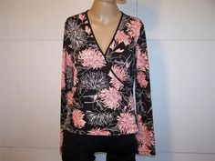 PARALLEL STUDIO Shirt Top L Surplice V-Neck Long Sleeves Floral Stretch Womens #Parallel #Halter #Casual