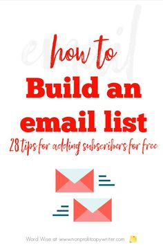 How to Build an Email List with Word Wise at Nonprofit Copywriter #WritingTips #EmailMarketing Writing Websites, Email Writing, Blog Websites, Writing Resources, Blog Writing, Writing Tips, Professional Writing, Biblical Inspiration, Copywriter